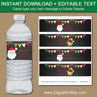 Christmas Chalkboard Water Bottle Labels - Santa Water Bottle Labels - Kids Christmas Party Decor - PRINTABLE Holiday Party Favors C2
