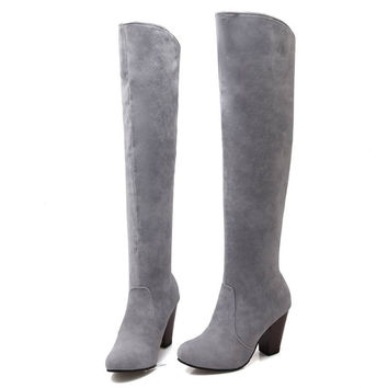 Fashion Women's Shoes 2016 Over The Knee Long Boots Vintage Chunky Heels Round Toe Less Platform Shoes Spring Winter Boots Woman
