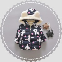 6M-3T Baby Clothing Parkas Coat Baby Girl Clothes Cute Rabbits Keep Warm Thickening Parkas Coat Fashion Winter Coat For Girl V20