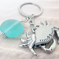 Crab Keychain, Beach Keychain, Beach Keyring, Car Accessory, Ocean Critter Keychain, Moveable Crab Keyring