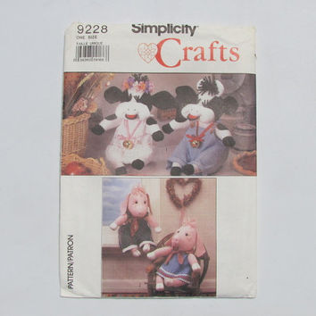 Simplicity Craft 9228 Craft Pattern Cow & Pig Dolls