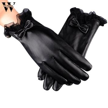 1 Pair Winter Gloves Women Warm Black Lace PU Leather Gloves Full Finger  Glove New