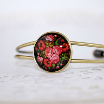 Red Bunch of Flowers Bracelet, Antique Bronze Bracelet, Glass Cabochon, Zhostovo Russian Folk Art