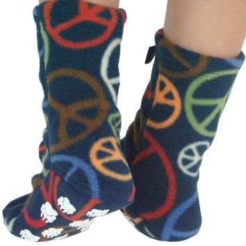Kids' Nonskid Fleece Socks - Peace