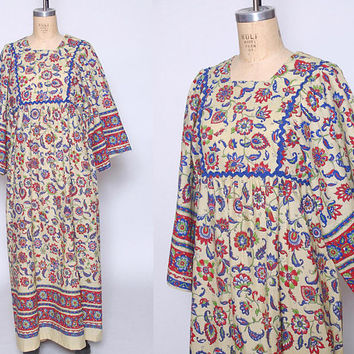Vintage 70s Caftan FLORAL Maxi Dress BELL SLEEVE Boho Dress Ethnic Dress Hippie Maxi Dress