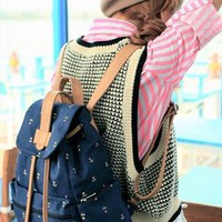 Cute Canvas School Backpack with Anchor KAO740 from topsales