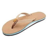 Women's Tropics Leather Sandal in Sierra Brown w/ Ocean Blue Midsole by Rainbow Sandals