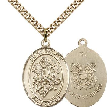 14K Gold Filled St George Coast Guard Military Soldier Catholic Medal Necklace 617759985580