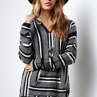 Gypsies and Moondust Stripe Pullover Hooded Sweater - Womens Sweater - Black