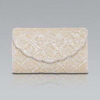 Cream sequin and beaded clutch
