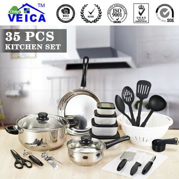 35pcs/Set Cookware Sets Bowl Pot Pan Spoon Kitchen Cooking Picnic portable Frying Pan Hot Kitchen Tools