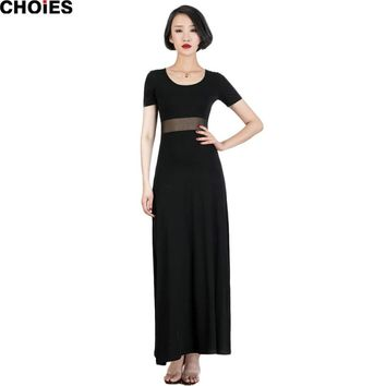 Women Black Short Sleeve Side Split Sexy Semi Sheer Patchwork Panel Maxi Dress New Fashion Round Neck Cotton Ladies Wear