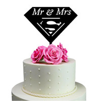 Wedding Cake Topper Mr & Mrs Superman Decoration