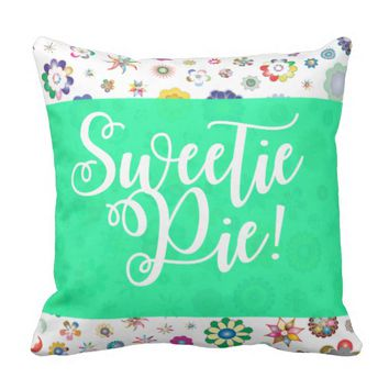 Turquoise Sweetie Pie Accent Pillow