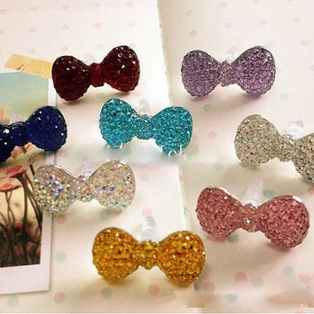 4pcs Cute Bow Earphone Anti Dust Plug Charms for iphone and Other Mobile Phone Earring dust plug DIY