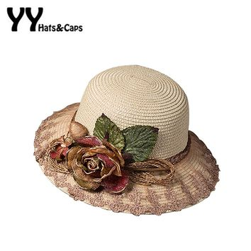 2016 Tea Party Hat For Women Summer Straw Sunhats With Simulation Flowers Ladies Elegant Beach Caps UV Trilby  YY60166