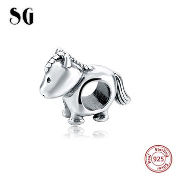2017 Collection 925 Silver Cute little Pony animal Charm beads Fit Authentic pandora Bracelet Berloque pendant DIY Jewelry Gift