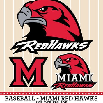 Miami Red Hawks Baseball Logo, SVG, dxf, eps, PDF, Vector Digital cut files for Silhouette Studio, Cricut Design Cutting Machines - SVG-03