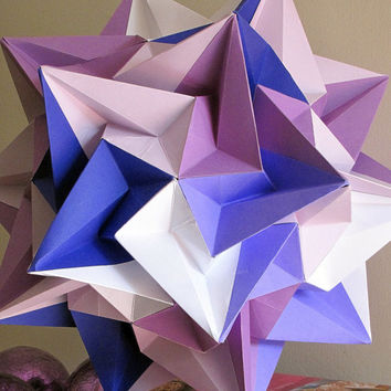 Purple, Blue and White Home Decor, Paper Origami Ball, Modern Home Decor, Hanging Decorative Art, Paper Crafts, Handmade Origami