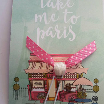 Fly me to Paris Paper Clip - Planner embellishment - Gift for travelers - Parisian Wanderlust -themed stationery