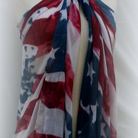 American Flag Beach Sarong Wraps Shawls Stars Flag Fourth of July 4th of July - By PiYOYO