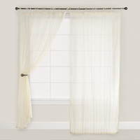 Natural Crinkle Voile Cotton Curtain - World Market