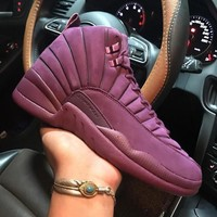 psny x air jordan 12 retro bordeaux bom722027 xii purple men s height increasing shoes fashion shoes top quality with original box us7 13