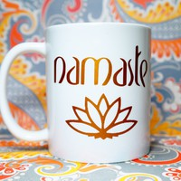 NAMASTE COFFEE MUG.  Yoga Inspired Coffee Mug for Yoga Enthusiast