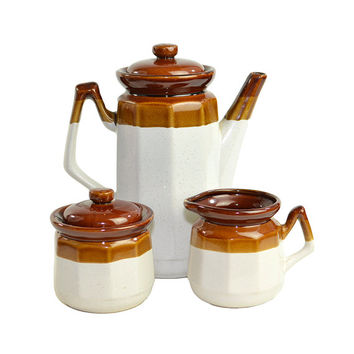 Brown Striped Stoneware Teapot, Cream & Sugar Set - Rustic Earthtone Kitchen Coffee or Tea Serving - Vintage Home Decor