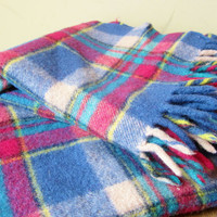 Vintage Throw Lap Blanket WOOL PLAID 1980s