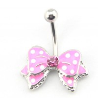 Baqi 14G Pink Bow Bowknot Enamel Belly Ring Navel Bar Body Piercing Jewelry Pink