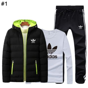 ADIDAS autumn and winter new tide brand plus velvet warm men's sports suit three-piece #1