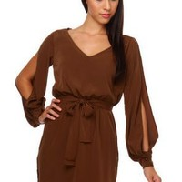 Romantic Brown Dress - Long Sleeve Dress - $48.00