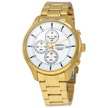 Seiko Gold-tone Chronograh Mens Watch SKS544