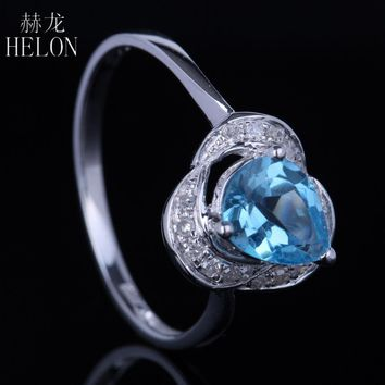 HELON 925 Sterling Silver 925 Pear Cut Genuine Blue Topaz Pave Natural Diamonds Jewelry Engagement Wedding Exquisite Women Ring