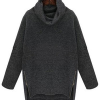 Cowl Neck Long Sleeve with Zip Side Slit Sweatshirt