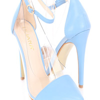 Baby Blue Single Sole Ankle Strap Heels Faux Leather