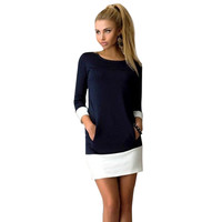 NLW Apparel 2015 Brand New Winter Fashion O-neck Dress Plus Size 3/4 Sleeve with Double Pocket Casual Women Dresses Vestidos