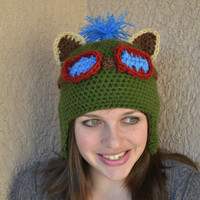 Teemo Hat -ANY SIZE- League of Legends Inspired Champion Earflap Beanie