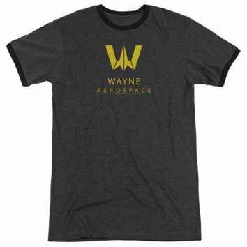 Mens Justice League Movie Wayne Aerospace Retro Ringer Tee