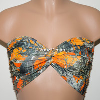 PADDED Orange Camo Bandeau Top, Swimwear Bikini Top, Twisted Top Bathing Suits, Blaze Orange Spandex Bandeau Bikini