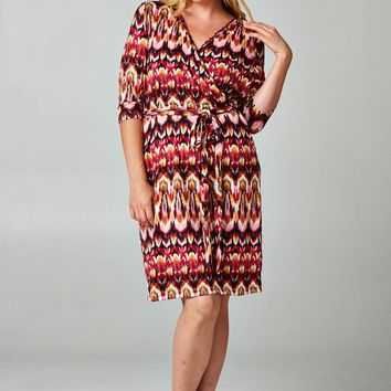 MY MALL METRO  Women's Plus Size 3/4 Sleeve Printed Wrap Dress  Check Homepage for Promo Codes! <