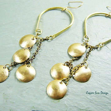 Gypsy Brass Disk and Chains Chandelier Earrings