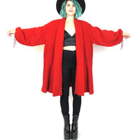 80s Draped Red Wool Coat Oversize Winter Coat Vintage Swing Coat Avant Garde Drawstring Waist Open Shawl Collar by Leone (L/XL)