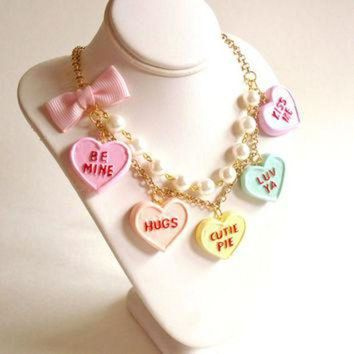 DCCKHD9 Conversation Heart Necklace Valentines Day Necklace Pastel Candy Hearts Charms Miniatu