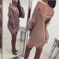 Winter Long Sleeve v-Neck Solid Split One Piece Dress Sweatshirt a13315