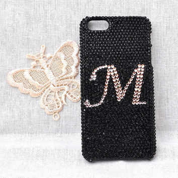 customize the letter mobile phone case for iphone 5C 5S 5 or 4 4s or ipod touch 4 5 hard cover with bling black crystal rhinestones