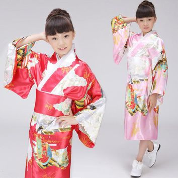 Children Japanese kimono costume traditional dress kimono long section girl Japanese dance performance clothing