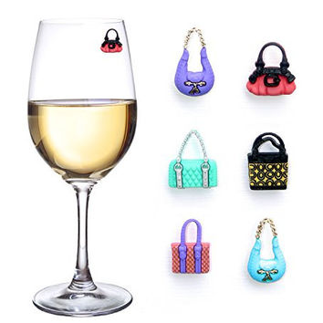 Girls Night Out Wine Charms or Glass Markers for Stemless Glasses, Martinis, Champagne Flutes and More - Set of 6 Colorful Purses - Hostess Housewarming Bridesmaid Gifts