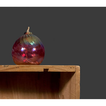 Vintage Oil Lamp / Hand Blown Red Swirl Glass Votive with Iridescent Glaze / 20% COUPON SALE
